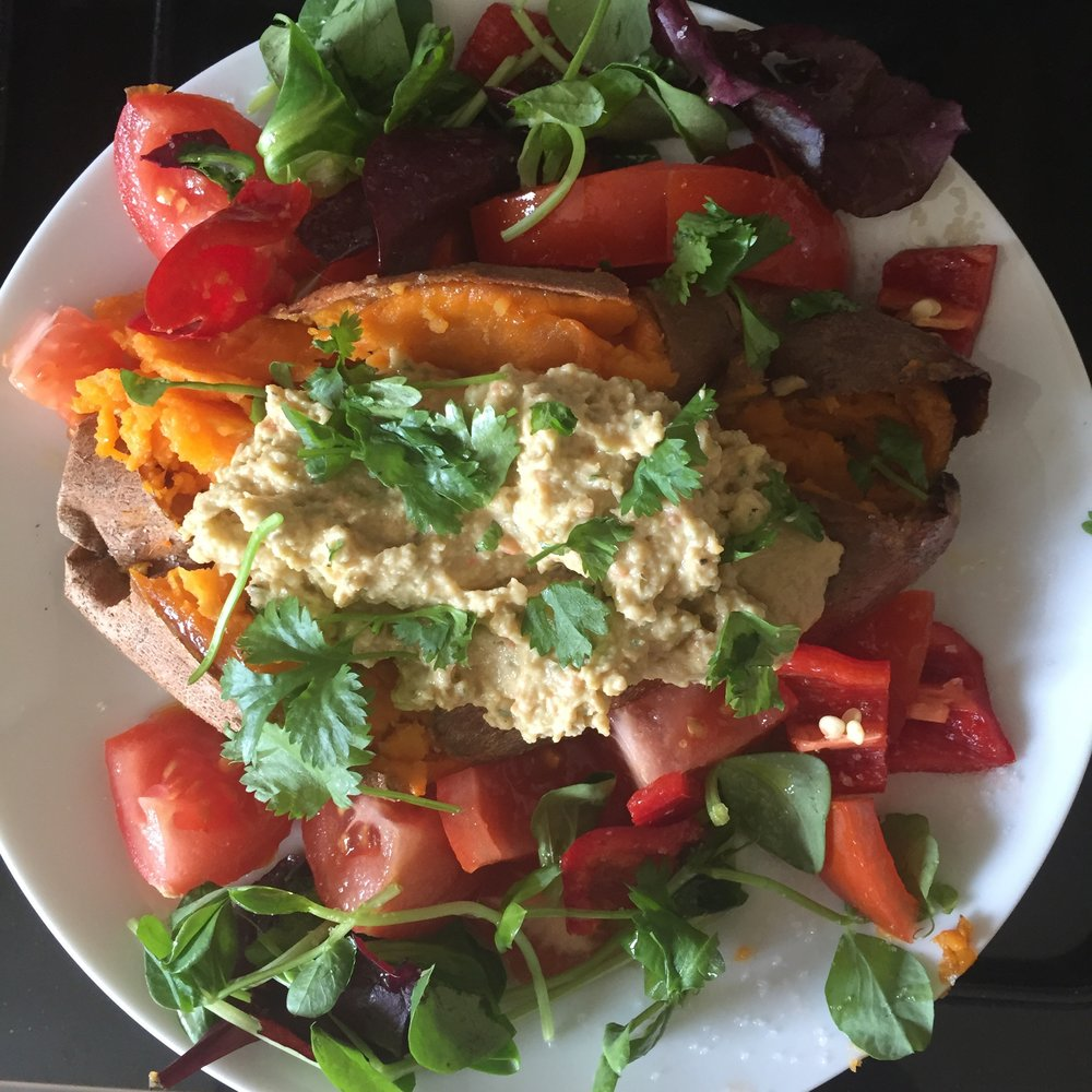 Hummus stuffed sweet potato