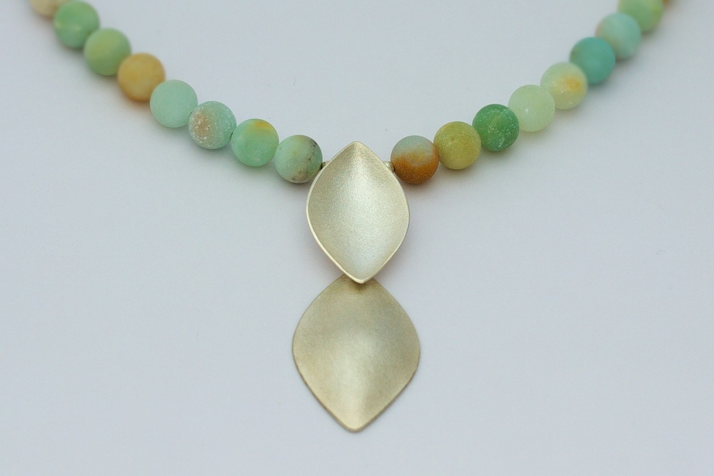 Sterling silver falling leaves necklace with frosted amazonite beads