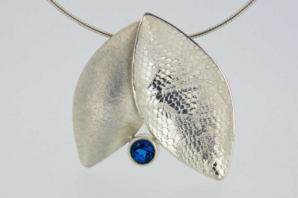 Silver leaf duo pendant with London Blue topaz