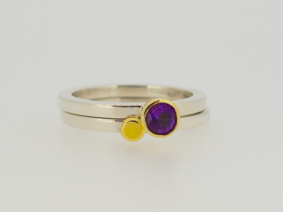 18 carat gold nugget and stacking rings with amethyst