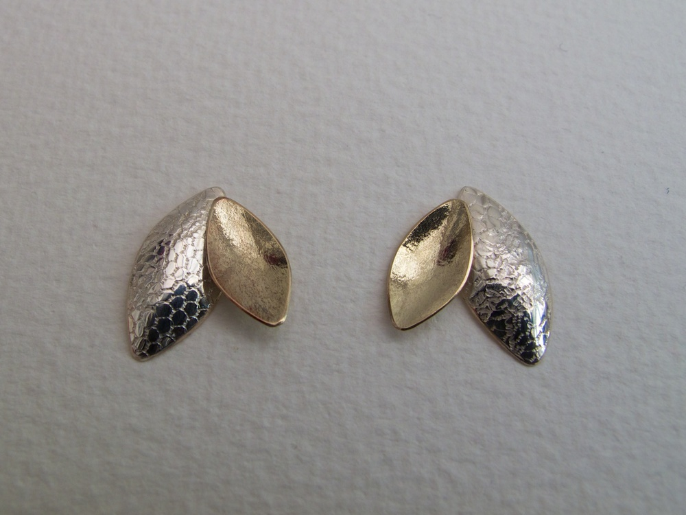 Kate Phipps Leaf duo earrings in 9 carat gold and silver.jpg