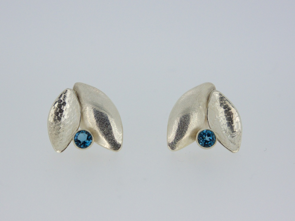 Kate Phipps Leaf duo earrings with London blue topaz.jpg
