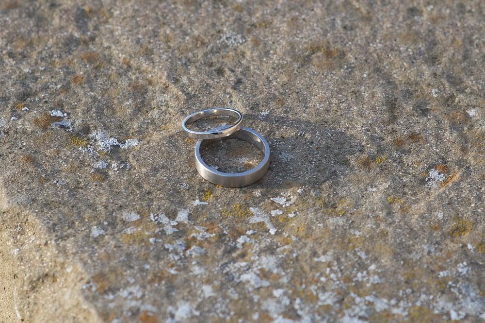 Platinum and palladium wedding rings