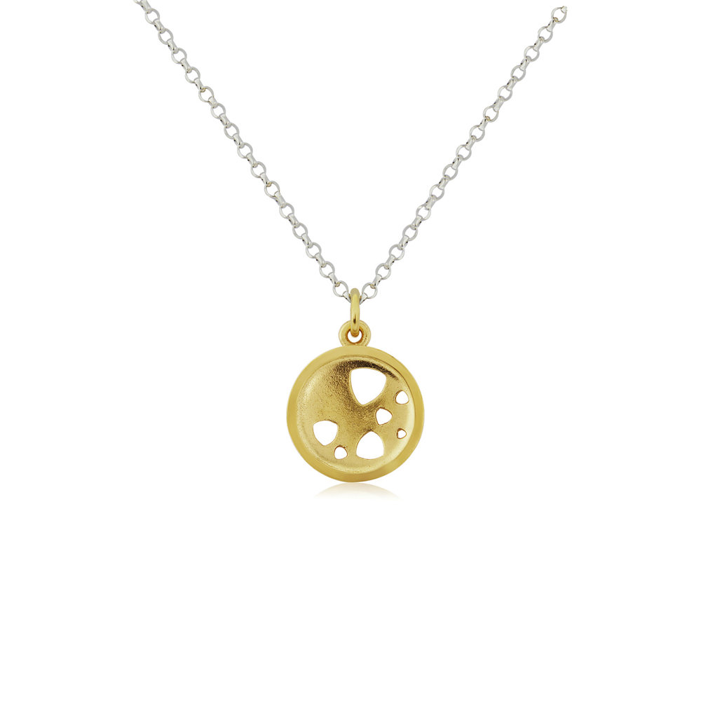 Small gold plated scattered trillions pendant