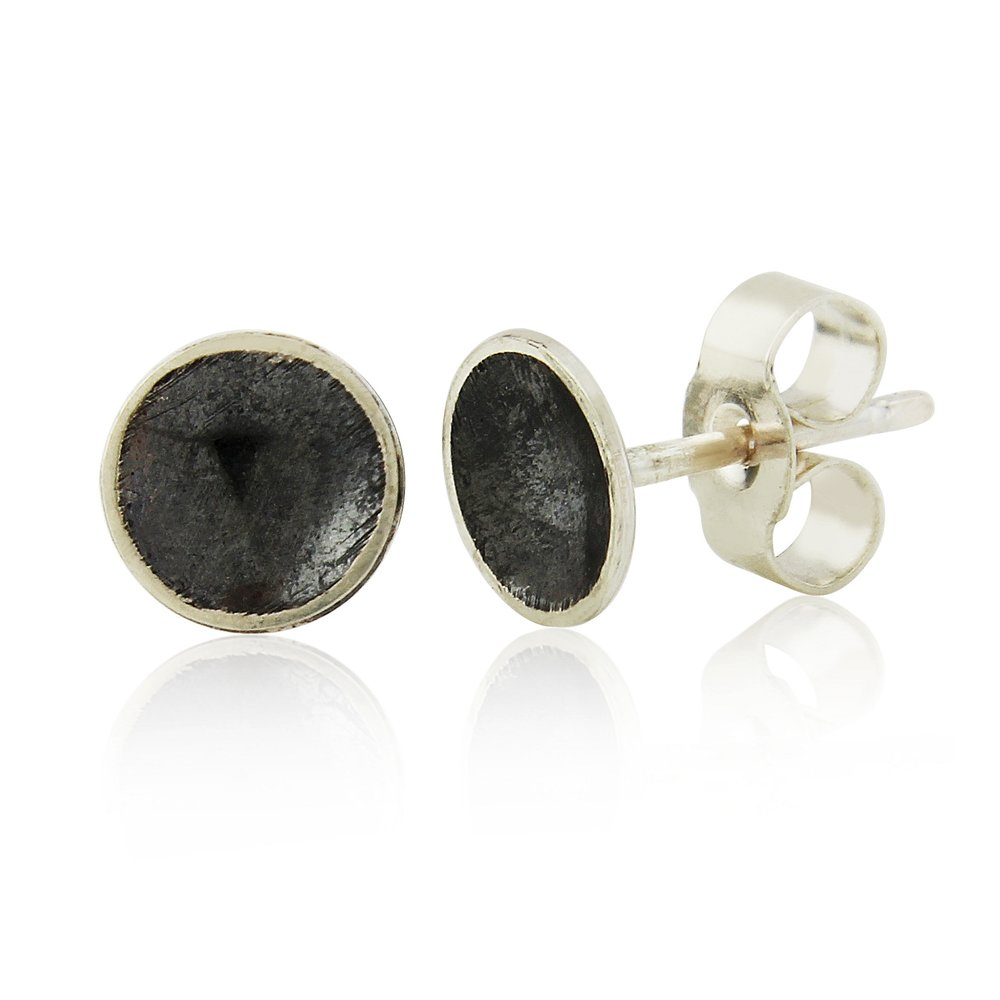 Small oxidised domed silver earrings