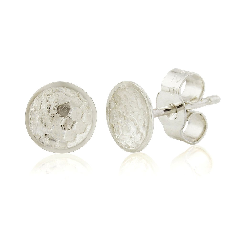 Small lace embossed domed silver earrings