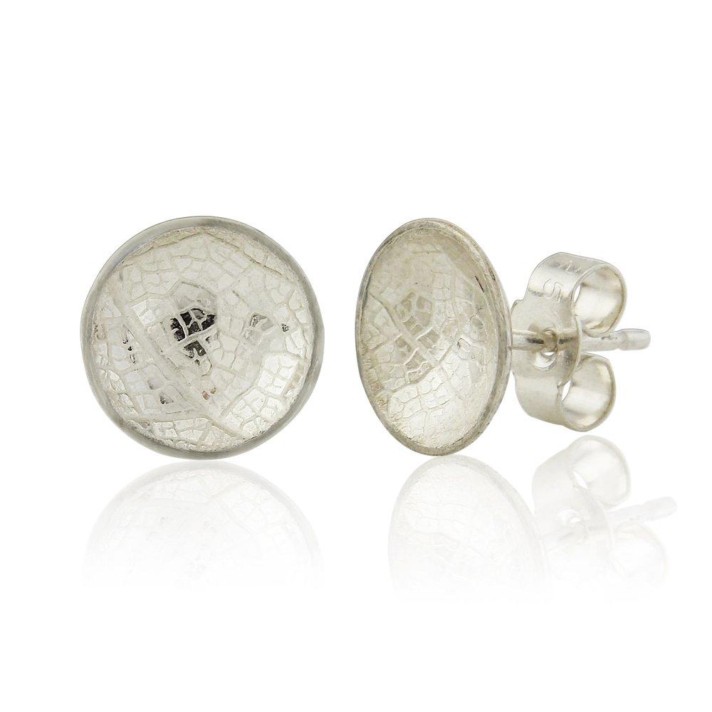 Medium leaf skeleton embossed domed silver earrings