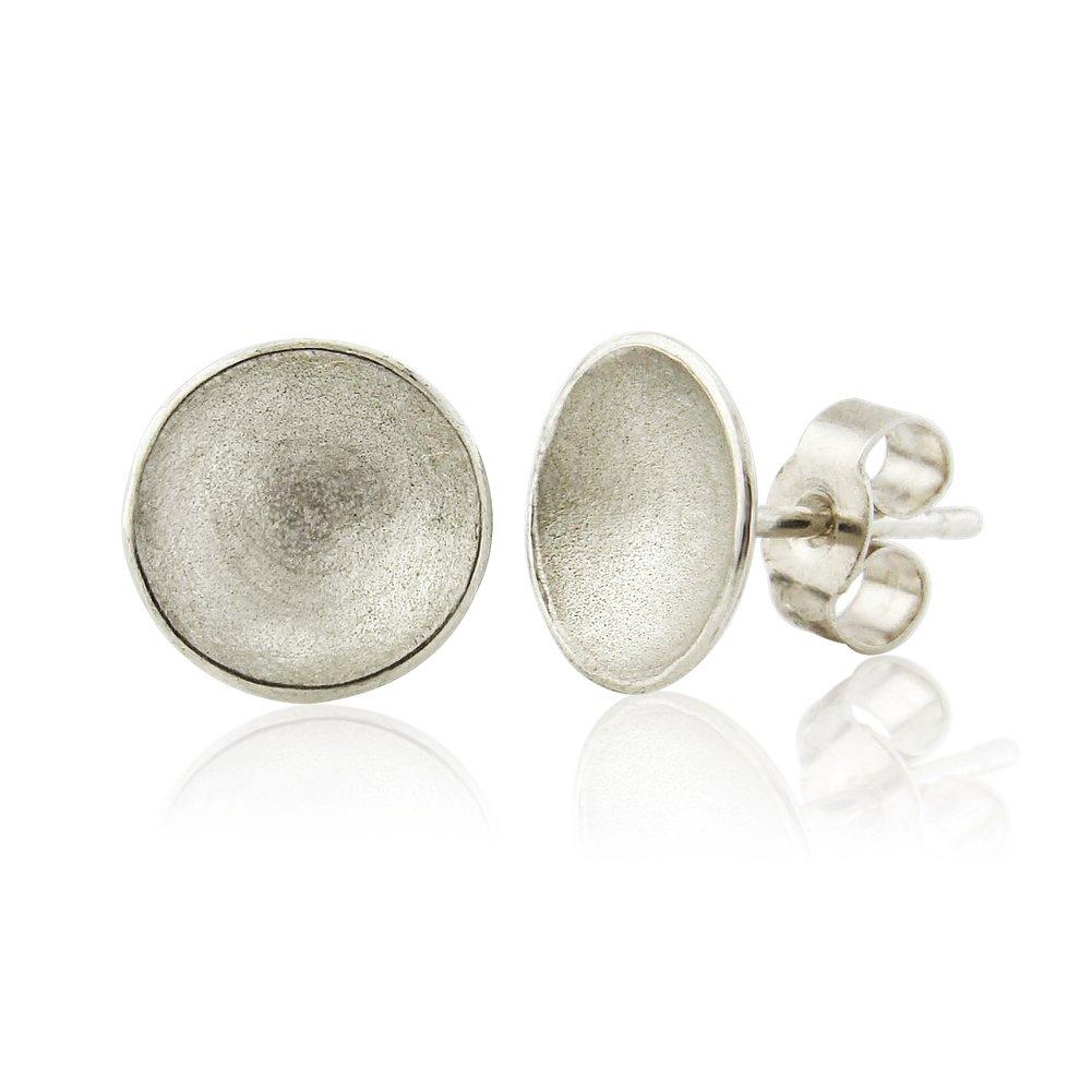 Medium satin finish domed silver earrings