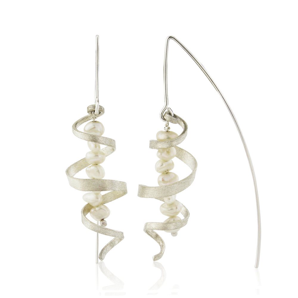 Frosted silver swirl earrings with freshwater pearls