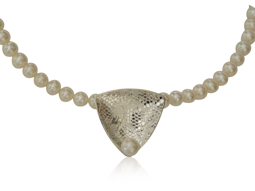Lace textured sterling silver trillion pendant with white freshwater pearls
