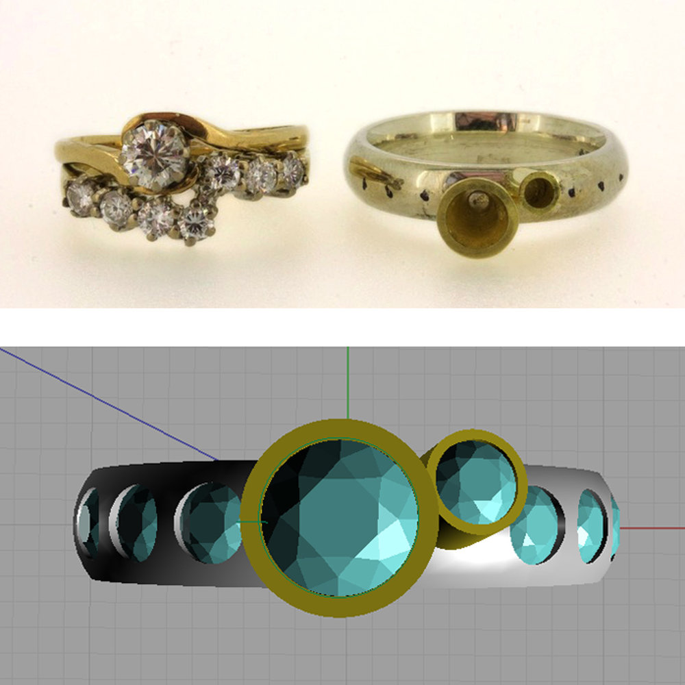 Top left: old rings Top right: new ring before diamonds were set in it Bottom: CAD mockup of new ring