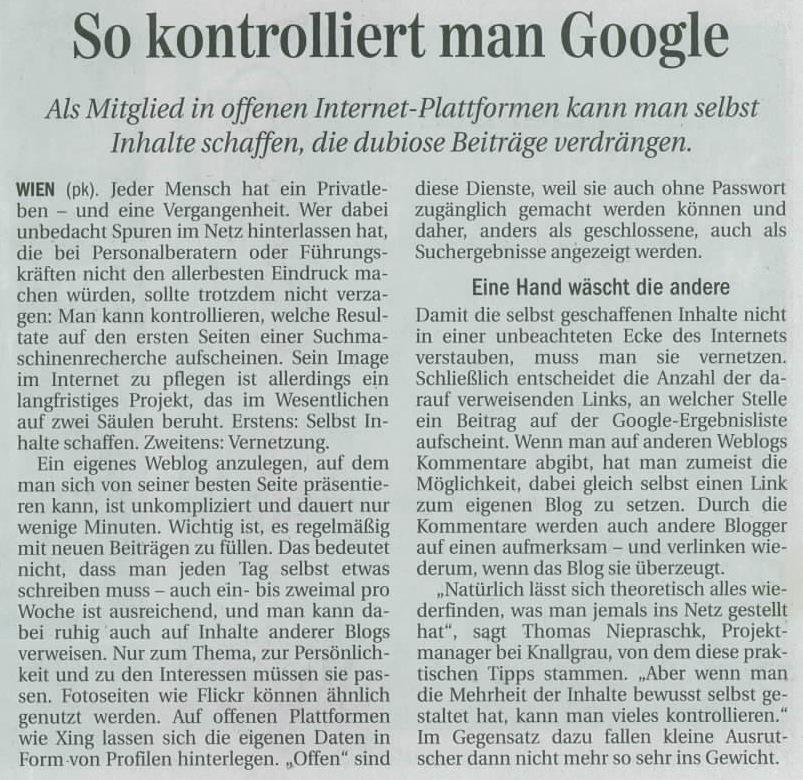 So kontrolliert man Google - Die Presse 10.01.2009