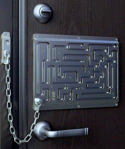 Defendius Labyrinth Maze Lock. Available via Think Geek (click on image for sale site). Sadly, all of the locks have the same answer so this lock will slow down IC rogues one time only.