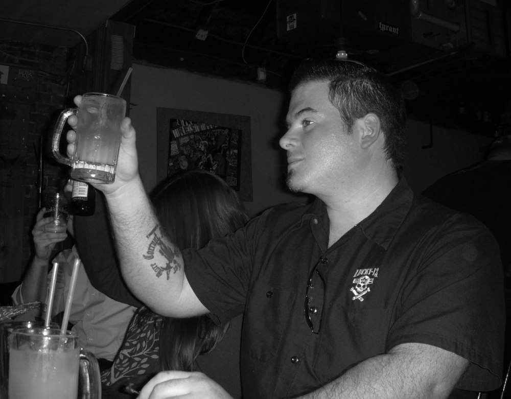 Me, just over six years ago toasting the start of Dystopia Rising at Rudy's in New Haven.