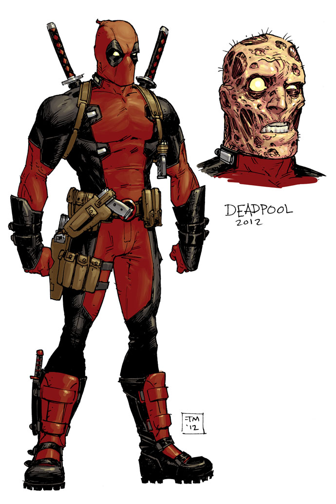 "I thought i'd share my stylesheet for the DEADPOOL costume update, which i did for the upcoming series hitting this November, with Brian ""The Ginger Giant"" Posehn, and ""Hacksaw"" Gerry Duggan writing."