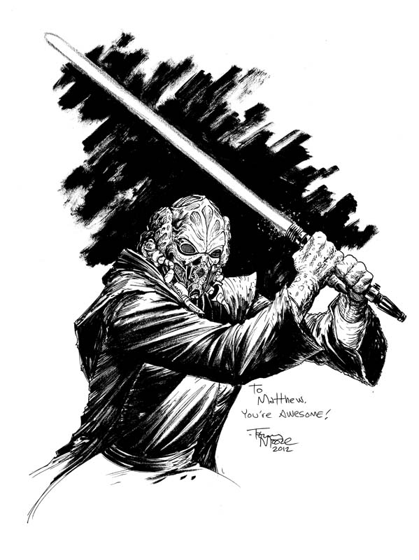 Here's a drawing of Plo Koon i did for a sweet little Star Wars superfan who has known a lot of hardship in his young life.   Learn more about Matthew's cause here:   http://www.facebook.com/group/matthewsgalaxyoffriends/