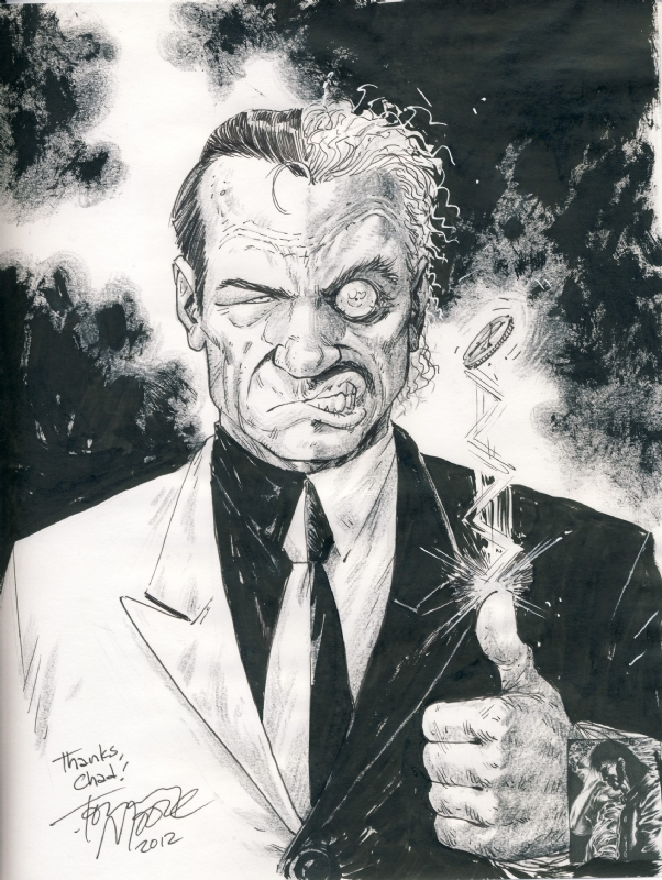 For this Two-Face sketch at C2E2, i couldn't decide how i wanted to handle Harvey Dent. Half of me wanted to do Tommy Lee Jones, and half of me wanted to do Billy Dee Williams. Rather than flip a coin, i decided not to choose.