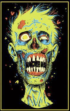 Flocked Blacklight Zombie Poster