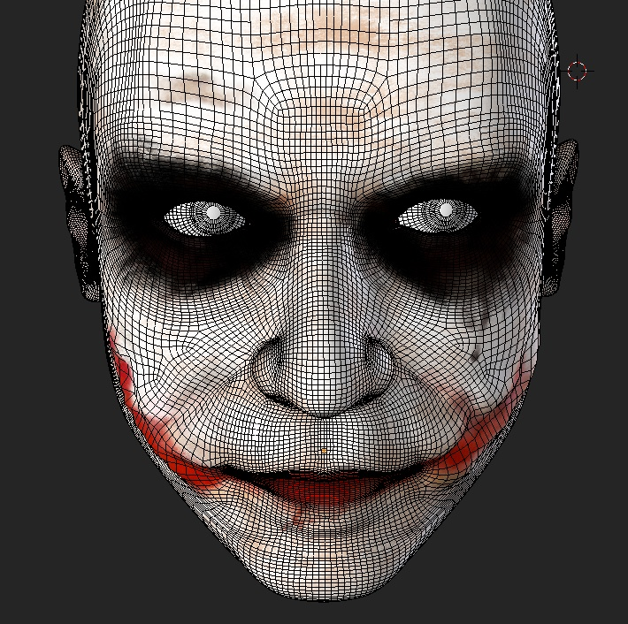 The Joker with wireframes. The topology is not perfect, but he's not going to be animated, so it's no biggie ;)