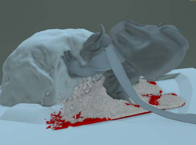 Snow - Snow simulations were achieved using Houdini grains, and rendered separately in Mantra as a volume. The Alembic pipeline allowed Houdini to cooperate with the rest of the disciplines.