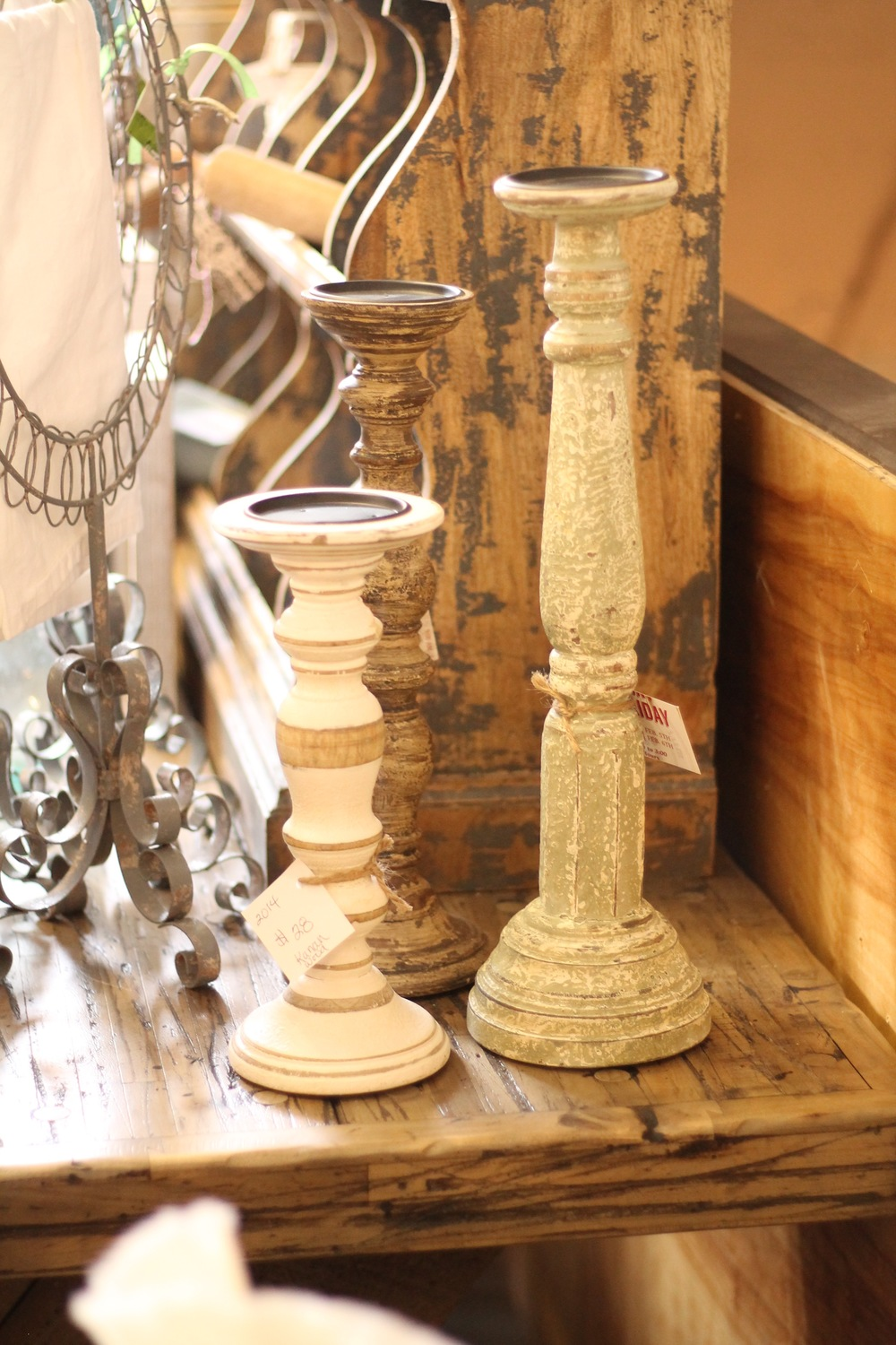 These candlesticks are another simple way to mix woods, whites, and textures.    Photo from: Anna Huff