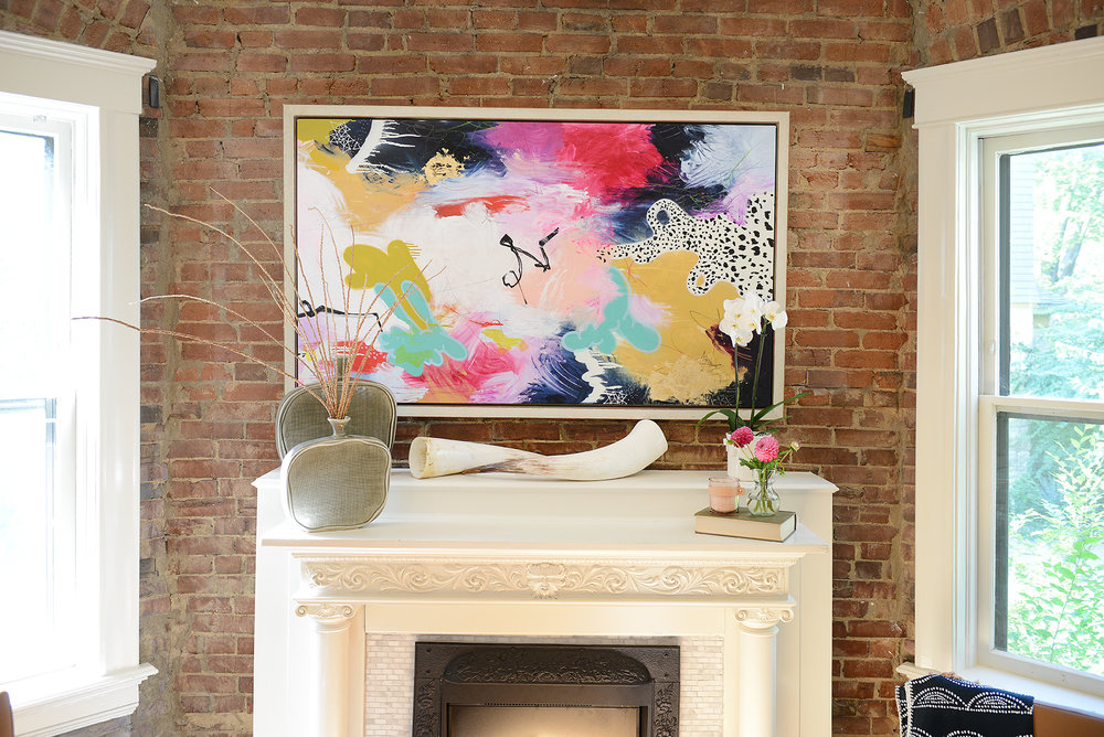 living-room-mantle-art