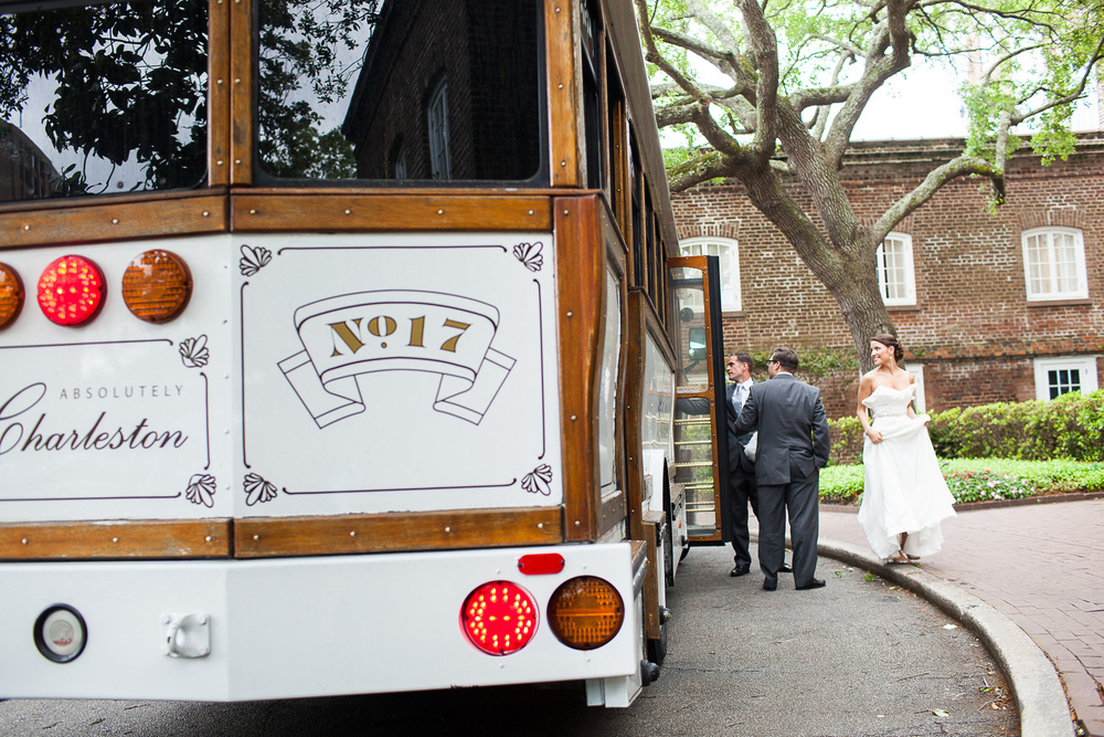 Historic Rice Mill Wedding Charleston Trolley