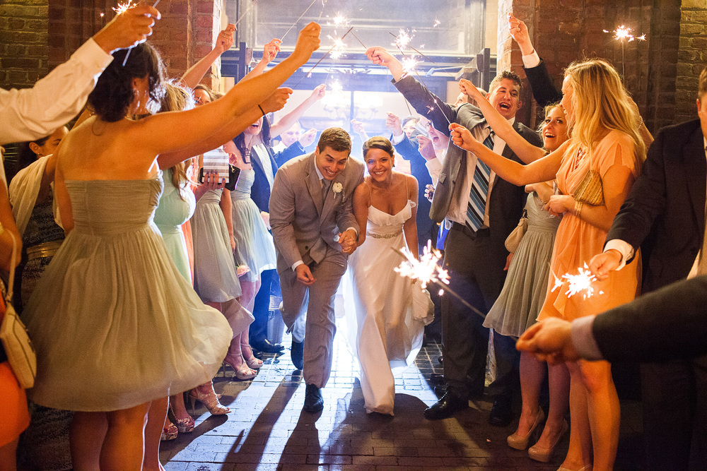 Historic Rice Mill Wedding Bride Groom Sparkler Exit