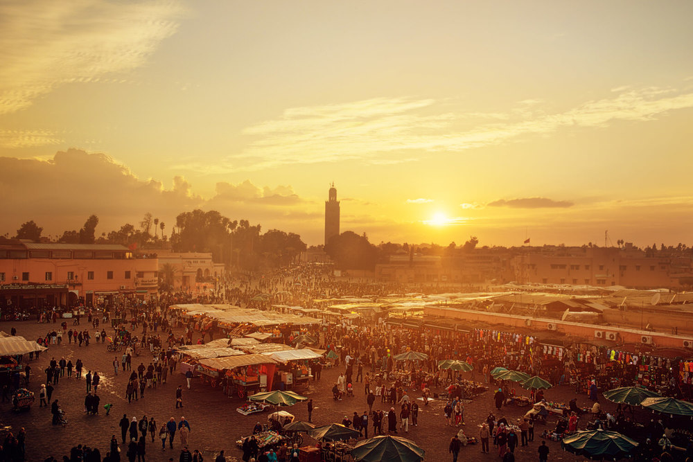 Sunset at the Marrakech Medina