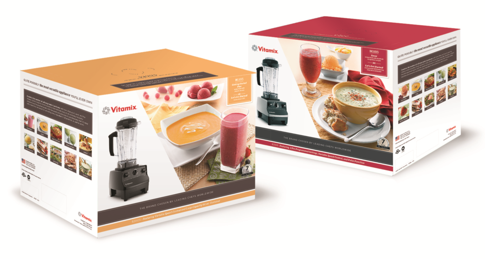 Product boxes for Vitamix in Costco sto  res. Photo direction, develop color schemes & perform production art on boxes.