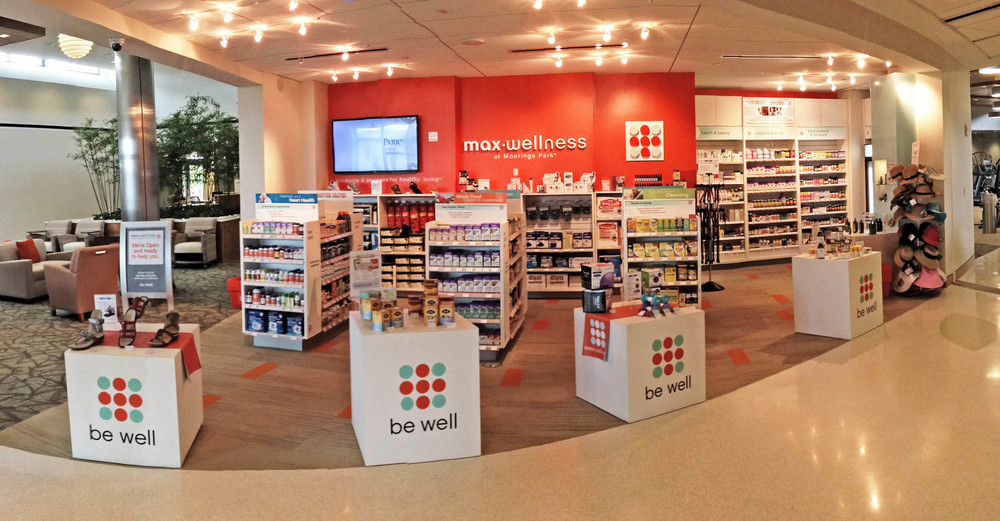 Max-Wellness Mini Store. Naples, Florida. Designed store graphics, signage and fixture layout.