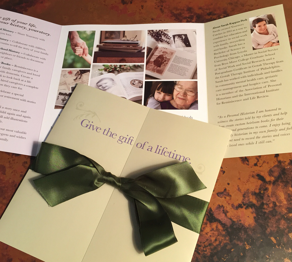 Capabilities brochure for YourStory Catcher, a company that creates personal histories.   Materials are wrapped in ribbon and hand delivered.