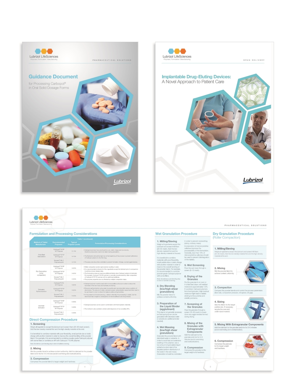 Redesign of Lubrizol LifeSciences capabilities brochures and sell sheets materials