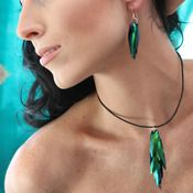 Beetle Wing Earrings and Necklack