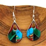 Silver Teardrop Mosaic Earrings