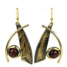 Blade and Tiger Eye Brass Earrings