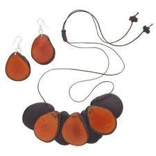 Flat Tagua Earring and Necklace Set