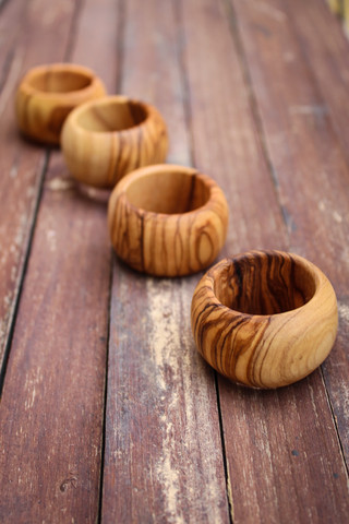 Beautiful and simple olive wood napkin rings made in  Nepal  by  From the Earth