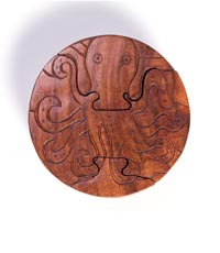Hand-carved octopus puzzle box made in India by Handmade Expressions