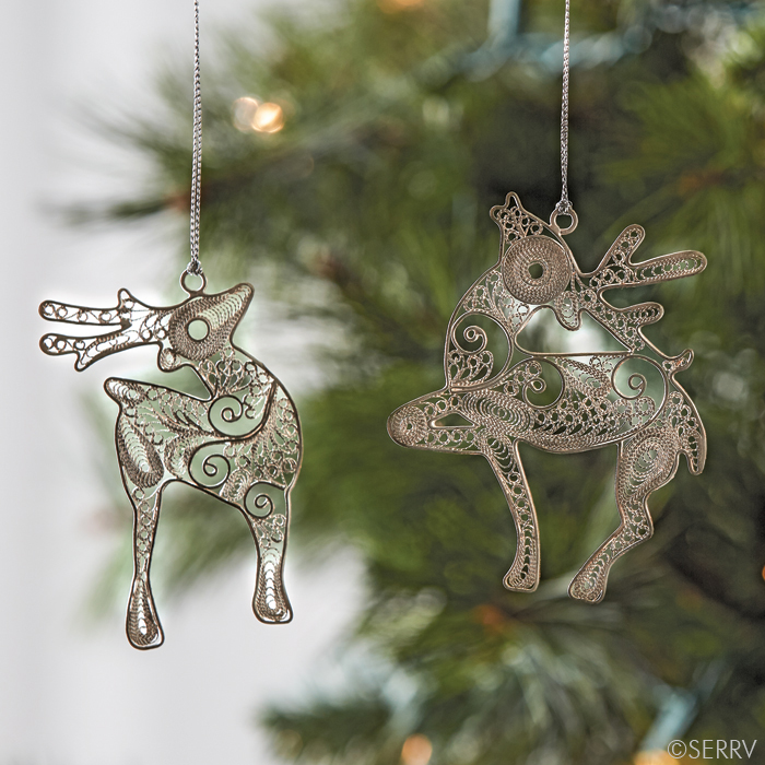 Filigree reindeer ornaments made in Indonesia by Pekerti