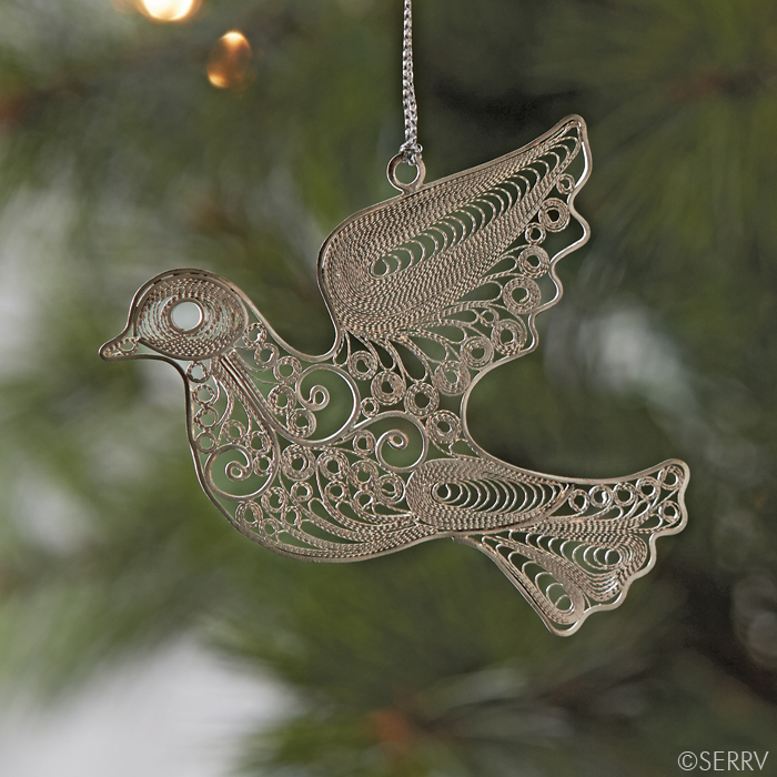 Filigree dove ornament made in  Indonesia  by  Pekerti