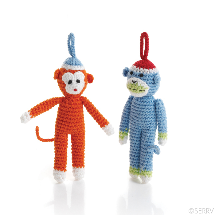 Hand knit monkey ornaments made in the Vietnam by Mai Handicrafts