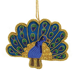 Beaded peacock ornament made in  India  by  World Finds