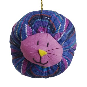 Woven cat ornament made in Guatemala by UPAVIM