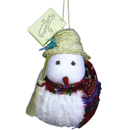 Woven snowman ornament made by One World Projects in Guatemala