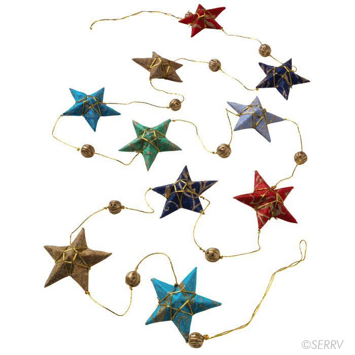 Handmade paper star garland made in  Bangladesh  by  Prokritee