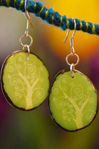 Tree of life carved tagua earrings made in  Colombia  by  Sapia