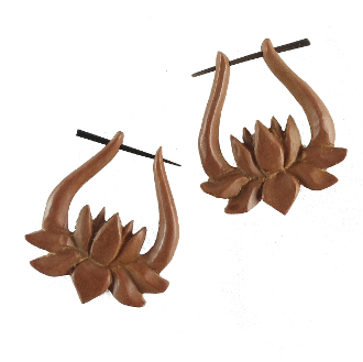 Wooden earrings made in  Indonesia  by  Garuda