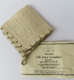 Washable & reusable, this silk fiber scrubber is great for gentle exfoliation. Made by Ganesh Himal in  Nepal .