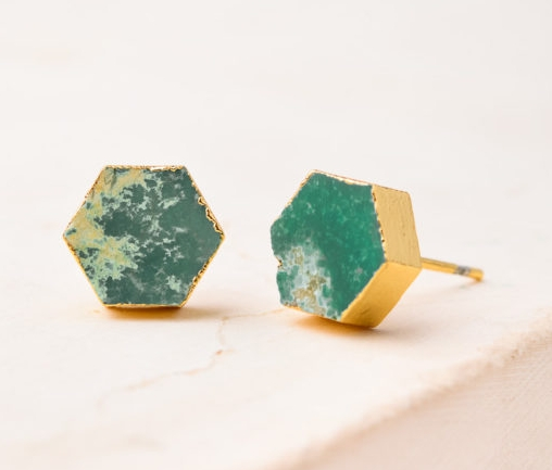 Natalie Turquoise Stone stud earrings made in  Asia  by  Starfish .